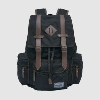 Tas Ransel Chicago Backpack Kanvas Laptop Sekolah Kerja Journey Black