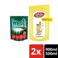 Lifebuoy Sabun Mandi Lemon 900ml dan Wipol Pembersih Lantai 500ml