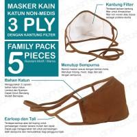 MASKER KATUN 3 PLY - PACK 5 Pcs