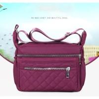 TS123 Bordir Korea Multizipper Nylon Sling Bag / Tas Selempang Wanita - purple
