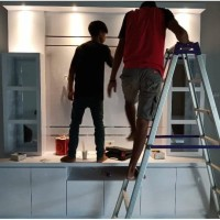 Lemari Meja TV Putih Minimaliis Nazala Interior Lampung