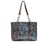 Emma Little Things Tote Bag Wanita Kulit Asli Motif Batik - Brown