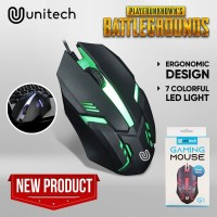 Mouse Gaming LED Unitech G1 7 Lampu RGB Gaming Mouse 800DPI