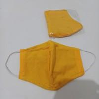 Masker Kain 3 Ply Lapis + Kantong Tambahan Warna Kuning