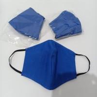 Masker Kain 3 Ply Lapis + Kantong Warna Biru