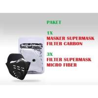 Paket Masker Supermask SOS CFC + Refill Filter PUTIH Micro Fiber 3Pcs