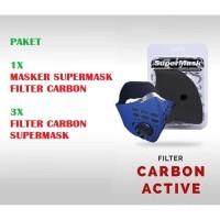 Paket Masker Motor Supermask SOS CFC + Refill Filter HITAM CFC 3Pcs