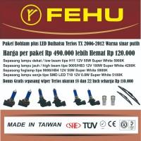 Paket bohlam Fehu plus LED untuk Terios TX 2006-2012 warna sinar putih