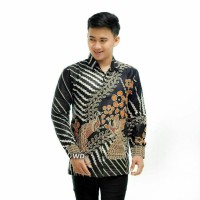 Kemeja Batik Pria Lengan Panjang Mahkota Hitam