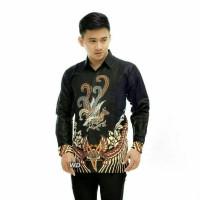 Kemeja Batik Pria Lengan Panjang Hitam Manis Daun