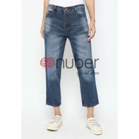 Celana Panjang Jeans Boyfriend Spray Navy Non Stretch - Fireweed