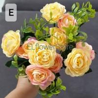 Peony 10 kuntum 2 warna + Aksesoris Daun Bunga Artificial Dekorasi - E pink kuning