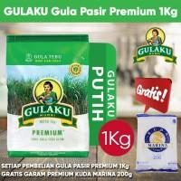 Gula Pasir Gulaku Premium 1kg Gratis Garam Meja Cap Kuda Marina 200gr
