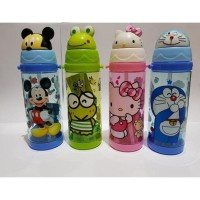 Termurah !! Botol Minum Sedotan Karakter Kepala Hk N Doraemon 450 Ml