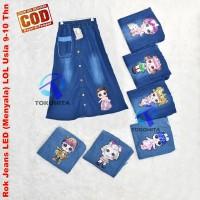 Rok Anak Jeans Usia 9-12 Thn LOL LED (Bisa Menyala)