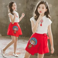 Chinese Style Baby Girl Clothes Set Short Sleeve Cartoon Print