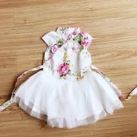 Baby Girls Patchwork Dress Retro Chinese Style Flower Pattern Sleeve