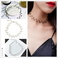 Kalung Choker Simple Gaya Korea dengan Mutiara untuk Wanita
