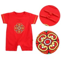 Chinese New Years Baby Boys Girls Rompers Short Sleeve Print