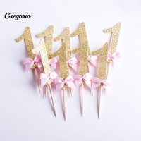 10Pcs Number 1 Bowtie Cake Topper Wedding Baby Shower Birthday Party
