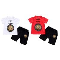 Chinese Style Baby Boys Casual Short Sleeve Retro Print T-shirt