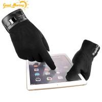 Sarung Tangan Pria / Wanita Full Finger Touch Screen Hangat Hitam