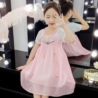 Chinese Style Baby Girl Dress Short Sleeve Embroidery Chiffon