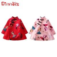 winners Chinese Style Baby Kids Girls Long Sleeve Dress Cartoon