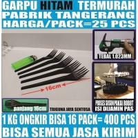 Garpu makan hitam 25 pcs per pack plastik panjang murah