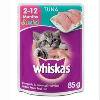 Whiskas Tuna Junior Sachet 85gr Makanan Pakan Kucing Wet Catfood