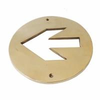 """5-3/4"""" Tanda Panah Arah Kuningan / Brass Sign - Arrow Circle"""