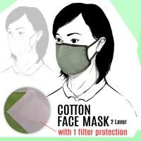 Masker Wajah Kain 2 Lapis Plus Extra Filter Protection isi 3pcs