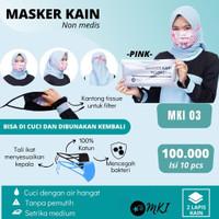 MASKER KAIN INDONESIA , MASKER KATUN 1000%,MASKER N95, MASKER DEWASA - 1 PACK PINK