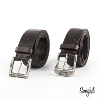 Quiksilver Stitchy Leather Belt Brown