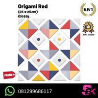 Keramik Lantai 25x25 Origami Red