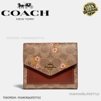 Coach Wallet Mini Signature Canvas With Floral Bow Print Original 100% - Pink