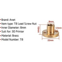 Copper Nut untuk Lead Screw 22mm / 10mm x 15mm bore 8mm