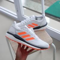Sepatu Sneakers Running Casual Cowok Adidas Solar Drive White Orange O