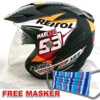 Helmet Double Visor Helem Repsol Hitam setara KYT INK GM WTO NHK