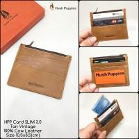dompet kartu hushpuppies SLIM 3.0 tan vintage premium dompet kulit
