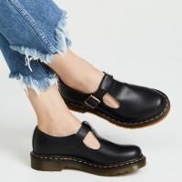 Sepatu wanita docmart Dr. Martens Polley T Bar Mary Jane in black