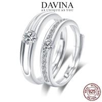 Cincin Couple DAVINA Perak S925 Tunangan Nikah Kawin Wedding Unik - pria