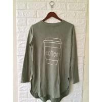 Kaos tunik oval panjang belakang-sablon coffee-pakaian atasan wanita
