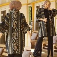 Long cardigan vest outer wear toraja etnik tenun blangket jepara hitam