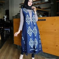 long cardigan outer vest rumbai toraja biru etnik blanket jepara