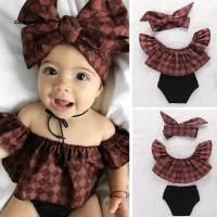 Cali☆Lovely Baby Girl Infant Plaid Ruffle Top Short Pants Headband