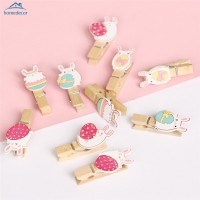 HD 10pcs Wooden Pegs with Linen Rope Lovely Rabbit Photo Paper Peg
