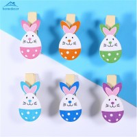 HD 12pcs Wooden Lovely Rabbit Colored Photo Paper Peg Clips Holder