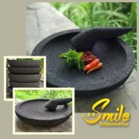 Best Quality Cobek Batu Asli 20Cm & Ulekan (+Packing Kayu) Promo