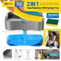 Pump Dispenser 2in1 Holder Sponge Tempat Sabun Cuci Piring Spons Dapur